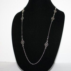 """Vintagejelyfish Jewelry - Long silver and crystal necklace 44"""""""